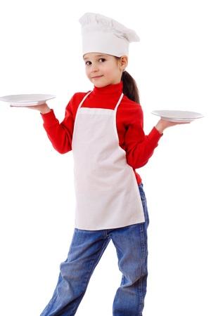 delantal: Cocina peque�a de pie, con dos platos vac�os, aislados en blanco