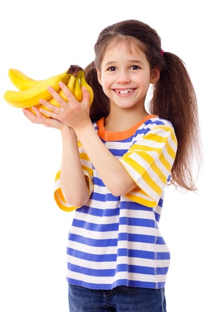 Happy girl holds a bunch of bananas, isolated on white