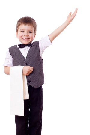 catering service: Little waiter standing with towel and pointing hand, isolated on white