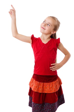 arms lifted up: Smiling little girl with empty pointing lifted up hand, isolated on white