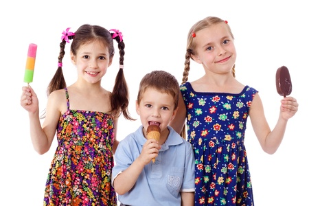 popsicle: Three kids are show and eat their ice cream, isolated on white
