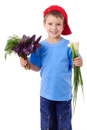 Smiling boy in red hat with greens - onion, basil and dill in hands, isolated on white photo