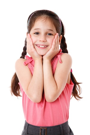 little girl surprised: Surprised and smiling little girl, isolated on white Stock Photo