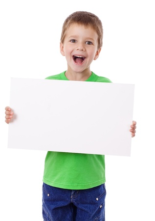 holding blank sign: Smiling boy standing with empty horizontal blank in hands, isolated on white