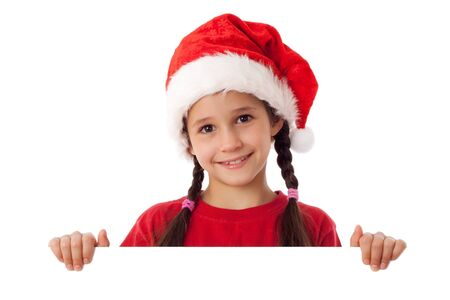 Christmas girl standing with empty horizontal blank in hands, isolated on white Stock Photo - 14715647