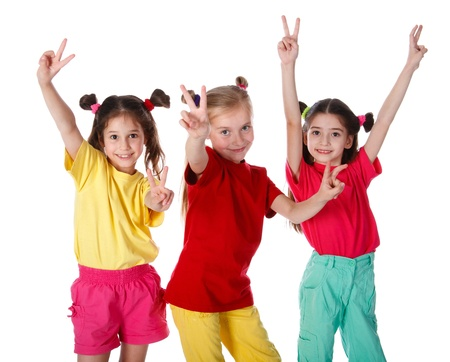 victory symbol: Group of happy girls with victory sign, isolated on white Stock Photo