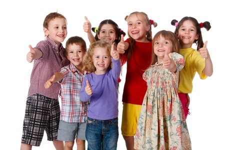 Group of happy children with thumbs up sign, isolated on white photo