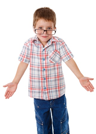 not open: Surprised little boy in glasses that shrugging aside, isolated on white