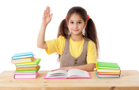 Girl with books and raises his hand up, isolated on white Stock Photo - 16887073