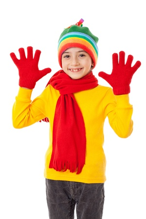 yellow fleece: Funny girl in winter clothes with greeting sign, isolated on white