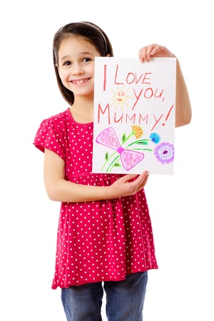 Little girl with drawing for mum, isolated on white Stockfoto