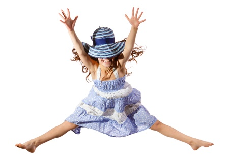 little girl dancing: Jumping girl in blue hat on face, isolated on white