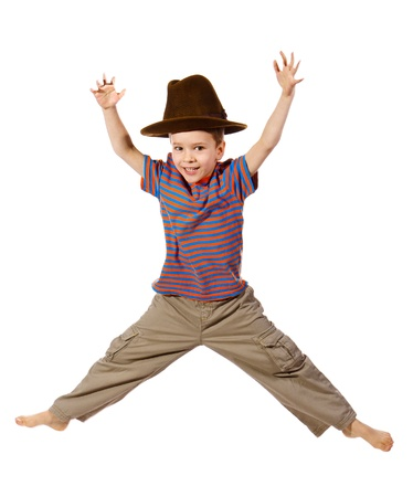 skip: Jumping boy in big hat, isolated on white