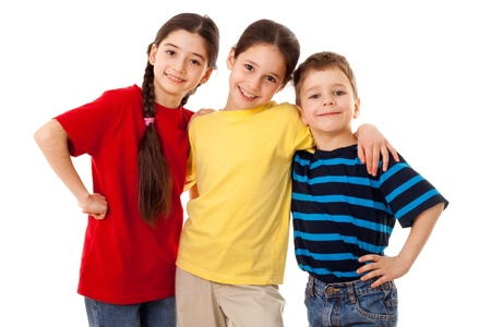 Friends - three kids together, isolated on white Фото со стока