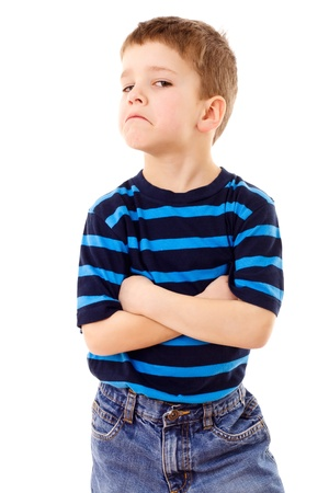 discontent: Discontent little boy in striped shirt, isolated on white Stock Photo