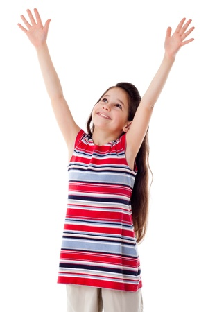 Smiling girl with raised hands, isolated on white Stockfoto
