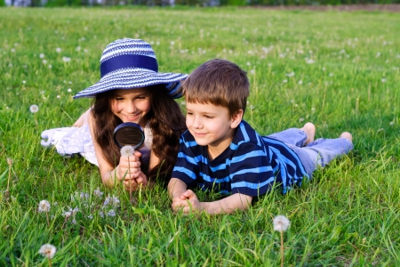 Kids on the green meadow looking to dandelion with a magnifying glass