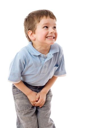 pee pee: Little boy bisogno di una pip?, isolato su bianco Archivio Fotografico