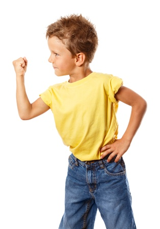 boastful: Strong boy shakes his fist, isolated on white