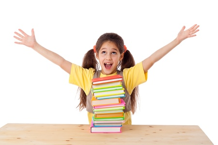 hand lifted: Happy girl with pile of books, isolated on white