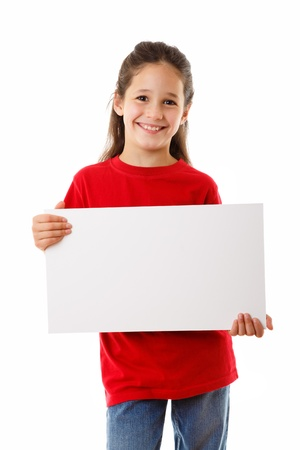 Smiling girl standing with empty horizontal blank in hands, isolated on white