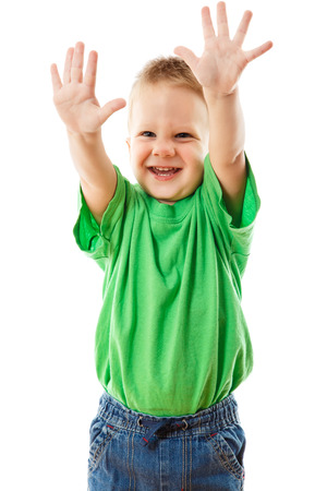 hand lifted: Funny little boy with raised hands, isolated on white Stock Photo