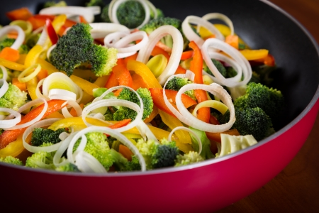 vegs: frying pan with colorful vegetables close up