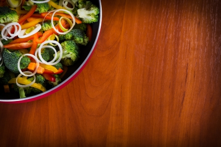 vegs: close-up of frying vegetables in pan