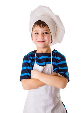 Petit chef heureux, debout isolé sur blanc Banque d'images