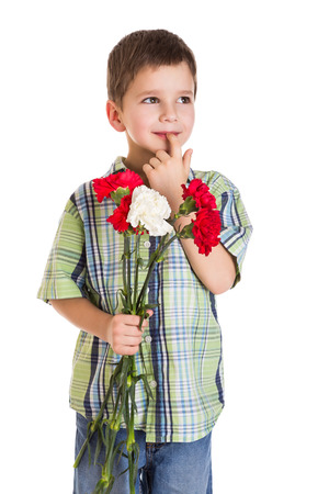 thoughtful boy with carnations for greeting, isolated on white photo
