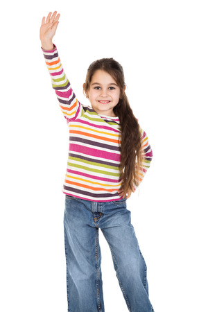flagging: Happy girl with raised hand as greeting sign, isolated on white