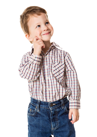 Adorable little boy looking sideways, isolated on white Stock Photo