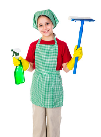 Happy girl with window cleaning equipment, isolated on white photo