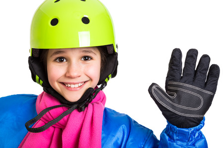 studio happy overall: Happy girl in blue winter sports overalls, isolated on white Stock Photo