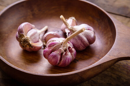 Bulb of garlic in wooden plate on dark background photo