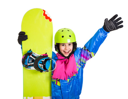 studio happy overall: Happy girl with snowboard and greeting gesture, isolated on white Stock Photo