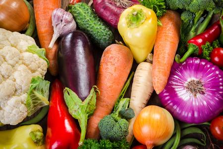 Assortment of colorful vegetables, summer food background
