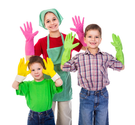 household chores: Happy kids with colorful gloves, isolated on white
