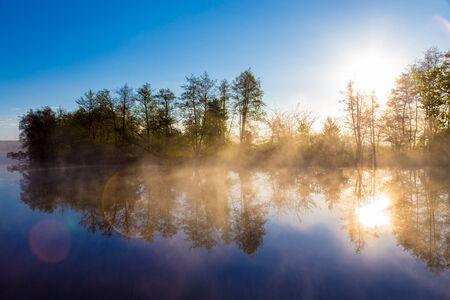 tranquil: Morning fog on a calm river, tranquil scene with lens flare. Vorskla river, Ukraine