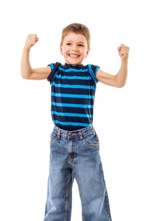 boastful: Portrait of a strong kid showing the muscles of his arms, isolated on white Stock Photo