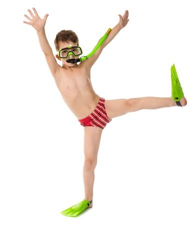 tronco: Muchacho divertido en máscara de buceo y aletas, aislado en blanco Foto de archivo