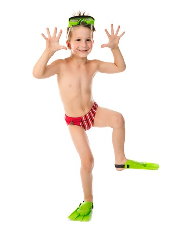 trunk: Funny boy in diving mask and flippers, isolated on white