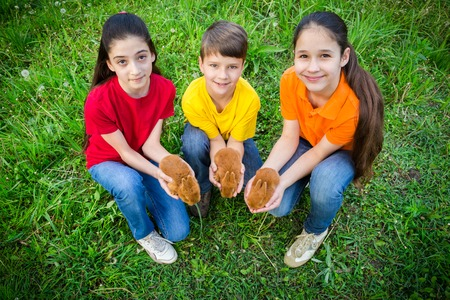 Smiling kids at green grass holding a little rabbits, easter con photo