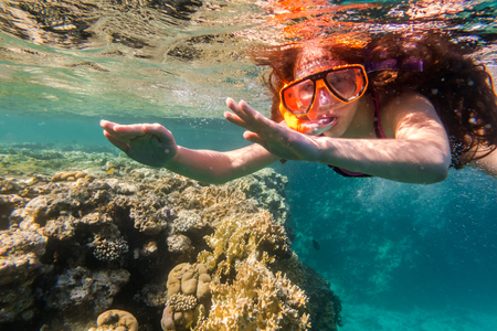 freediving: Girl in swimming mask dive in Red sea near coral reef Stock Photo