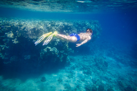 Boy dive in Red sea near coral reef