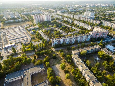 Aerial view to residential area in Kharkiv, Ukraine