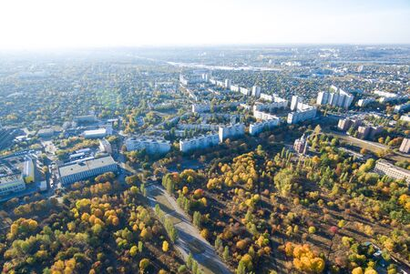 Aerial view to residential area and park in Kharkiv, Ukraine