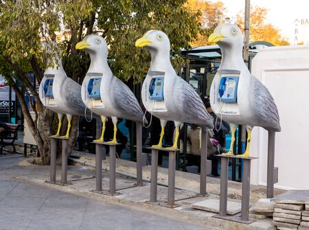 Seagul shaped public phone booth on Besiktas square, Istanbul. T