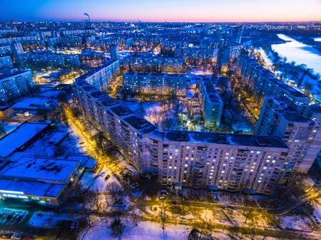 Winter evening aerial view to residential area in Kharkiv, Ukrai