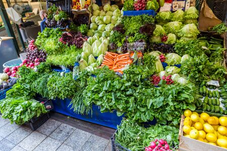 Istanbul. Turkey. Street market with fresh greens and vegetables